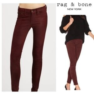 RAG & BONE Lamskin Leather Wine Sued Skinny Jeans